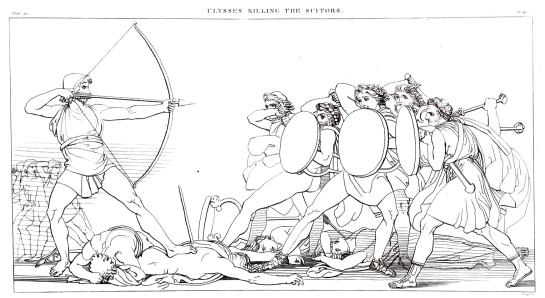 Odysseus killing the suitors, by John Flaxman
