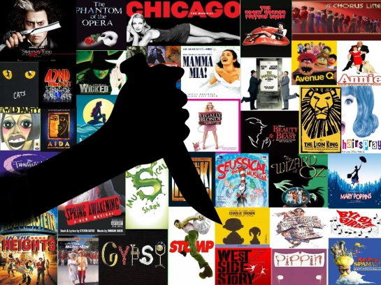 Musicals collage with knife