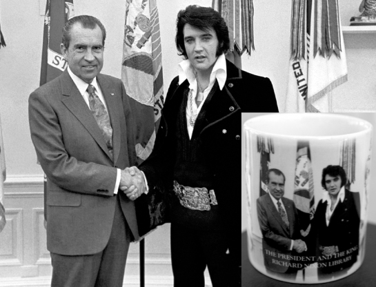 nixon and elvis with mug