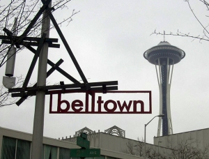 Belltown sign with space needle