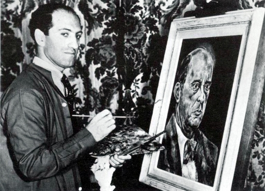 George Gershwin with his portrait of Schoenberg