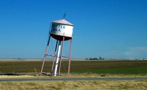 Leaning water tower