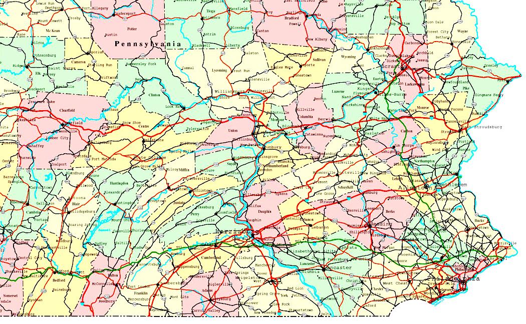 Map of eastern pennsylvania