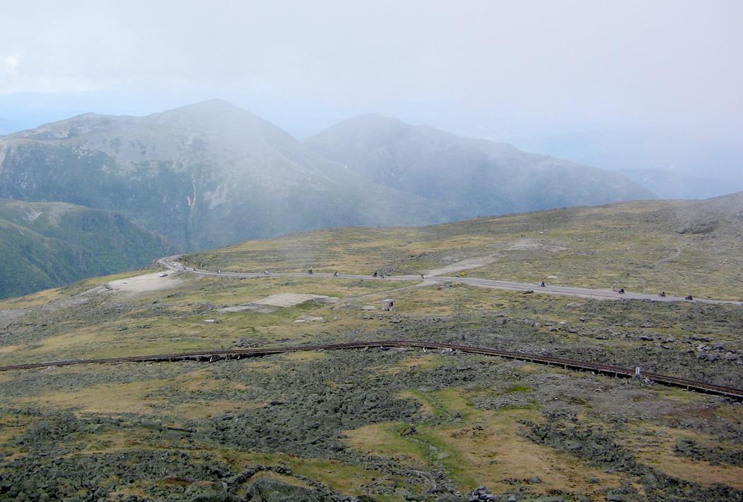 Mt. Washington Auto Road, with cog railway tracks in foreground.