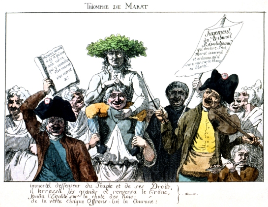 Cartoon of Marat as defender of the People and the Peoples' rights