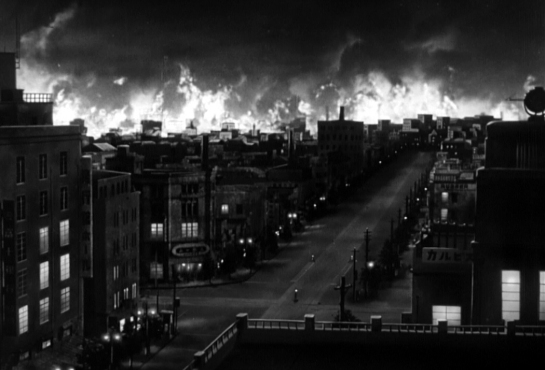 gojira burning city
