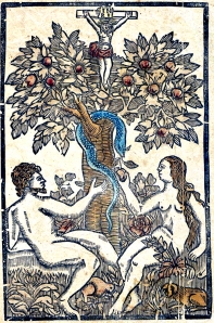 adam and eve woodcut