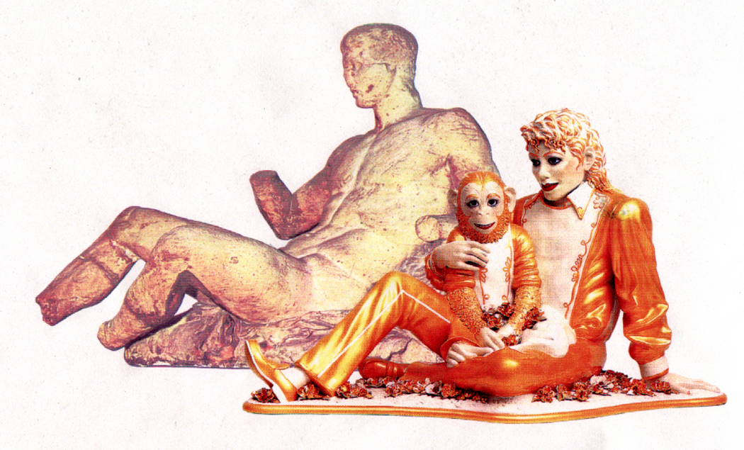 """""""Michael Jackson and Bubbles"""" by Jeff Koons, and Elgin Marbles figure"""