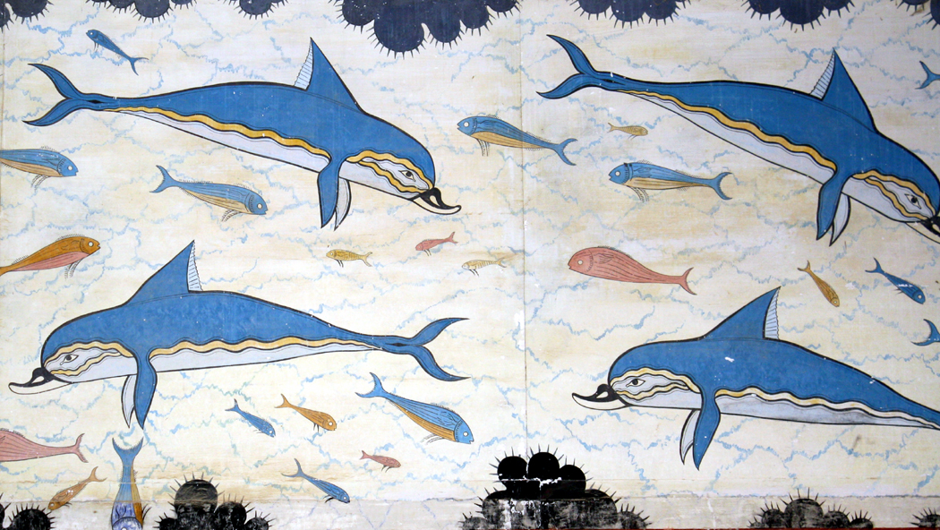 Animals in art richard nilsen for Dolphin mural knossos
