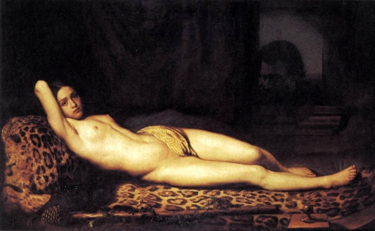 nude girl on Panther Skin Felix Trutat 1844