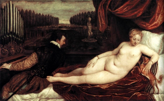 venus, organist and little dog, titian 1550
