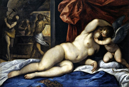 venus&cupid at vulcan's forge giovane 1610