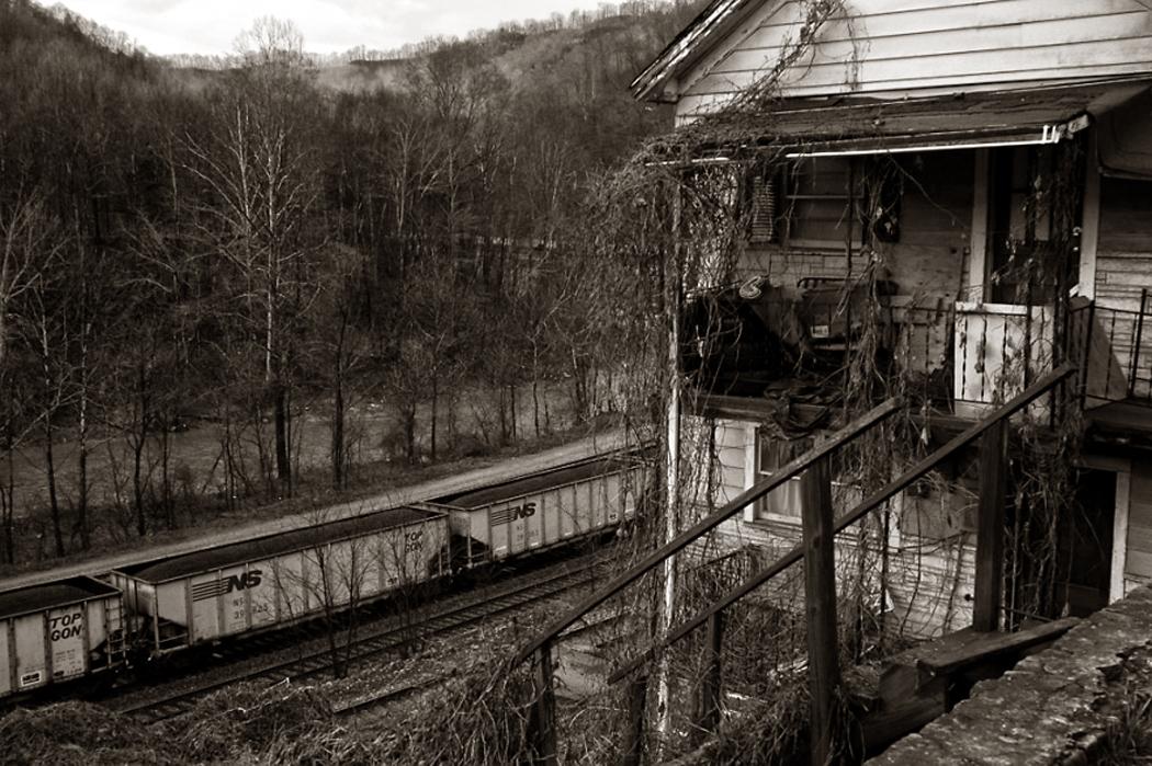 coal train and house