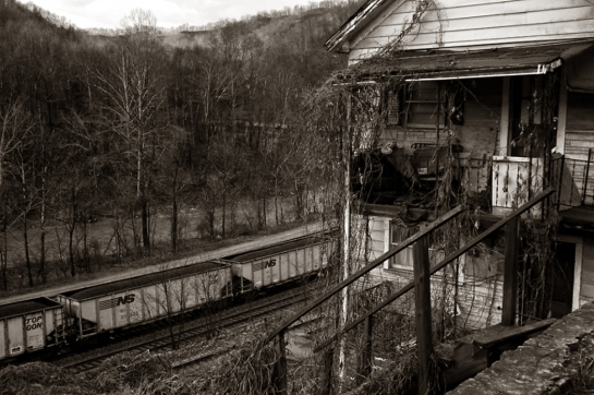 coal train and house