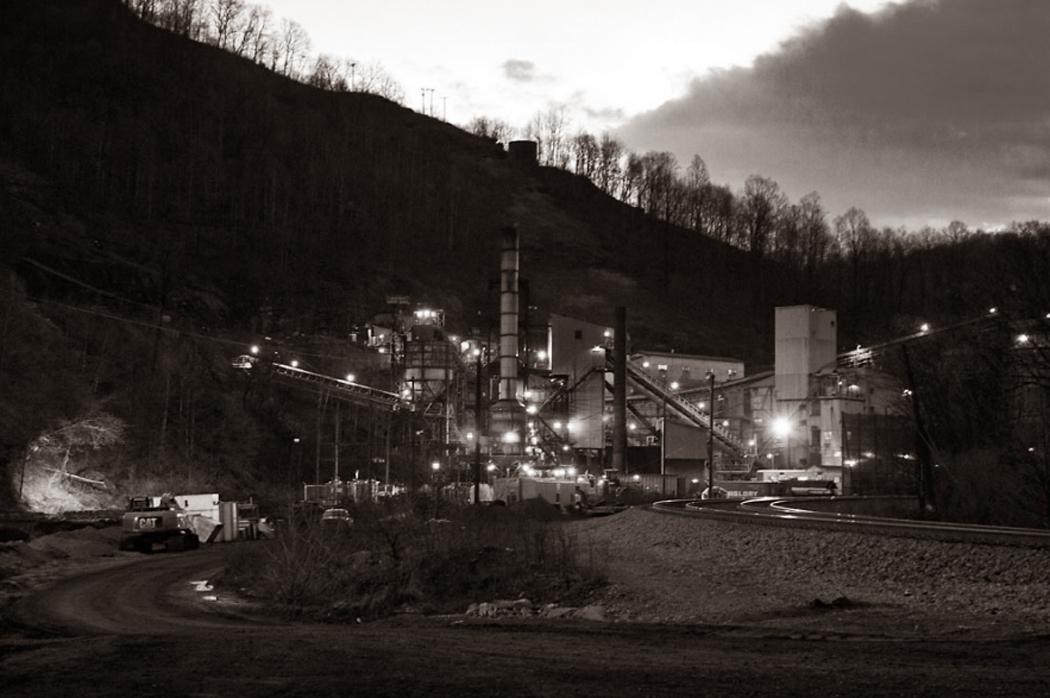 keystone wv night coal mine bw