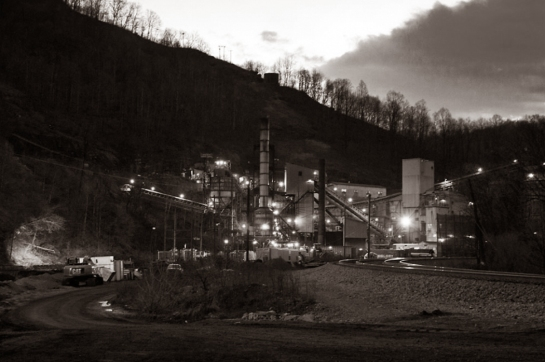 keystone wv night coal mine bw