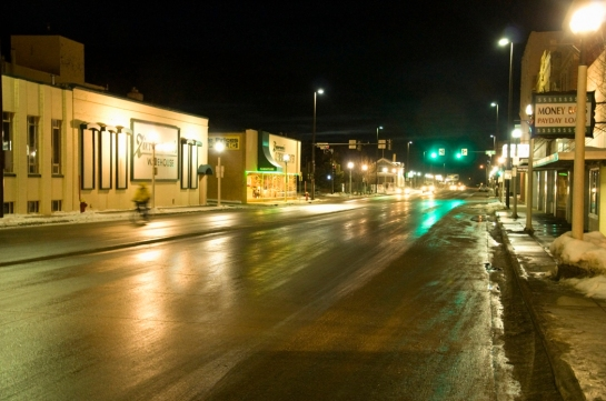 bismarck night snow downtown