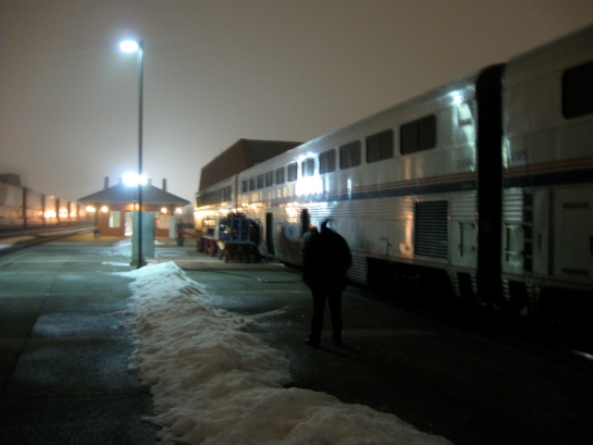empire builder station night winter