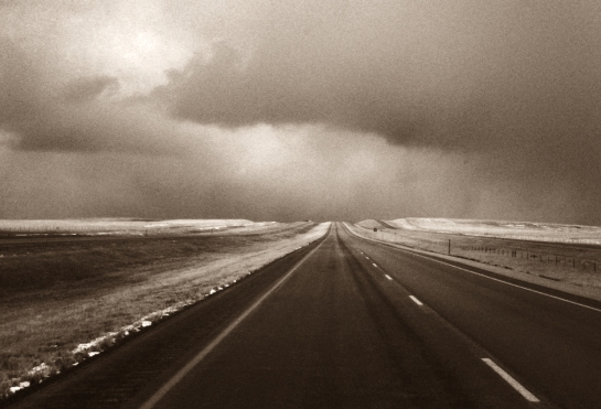 road into hills BW