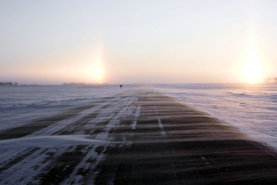 snowdrift on highway