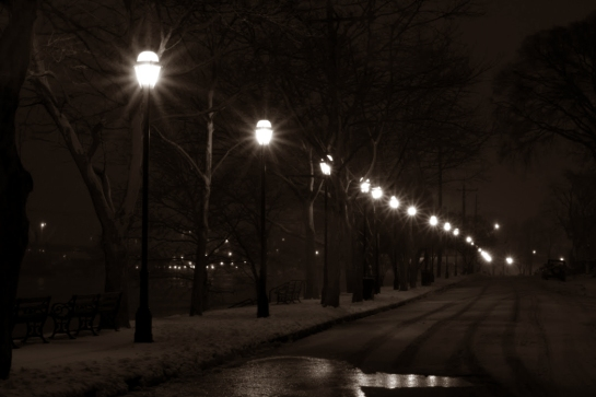 streetlamps snow