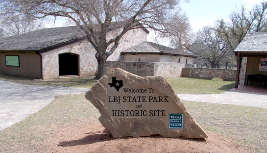 lbj state park entry sign