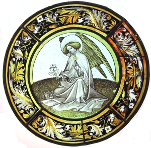 Cluny stainded glass angel with flower tondo