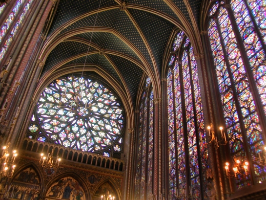 ste chapelle rose window, stained glass, ceiling