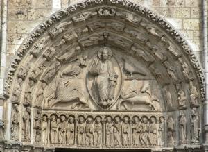 west facade central portal tympanum