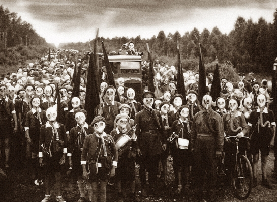 Leningrad children prepare for gas attack