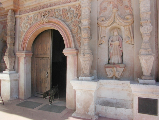 San Xavier del bac dog at door