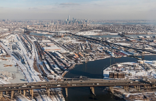 Jersey City with Pulaski Skyway
