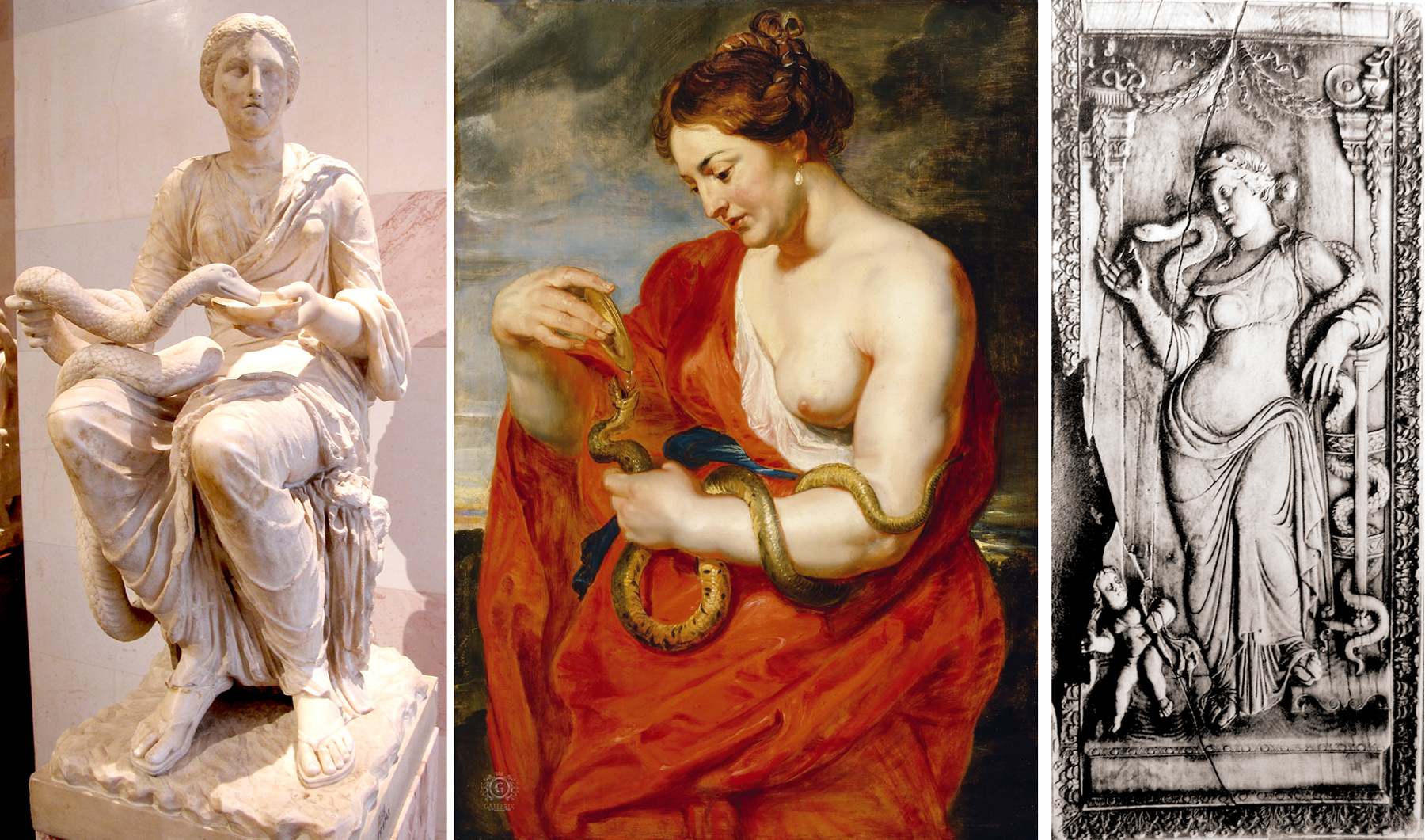 Not that they are the only two: There are paintings and sculptures of the  Roman goddess Hygea, goddess of health, which show her feeding a snake —  the snake ...