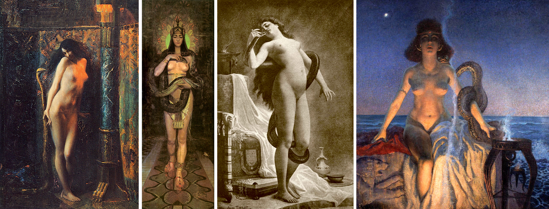 Salammbo and the holy python by a) Gaston Bussière (1910) b) Charles Allen Winter c) Jules Jean Baptiste Toulot d) Glauco Cambon (1916)